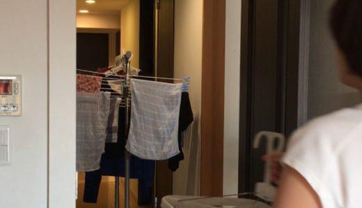 洗濯ものを運んでいる